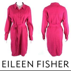 Eileen fisher pink linen belted shirt dress